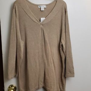Christopher & Banks tan 3/4 sleeve sweater NWT